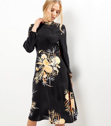Black Floral Print Funnel Neck Long Sleeve Midi Dress  | New Look