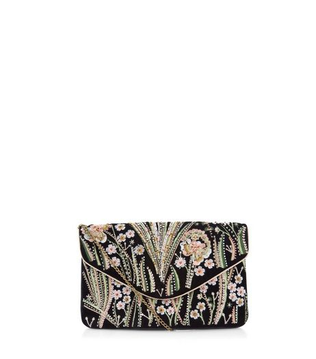 Black Floral Embroidered Clutch  | New Look