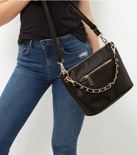 Black Chain Strap Across Body Bag | New Look