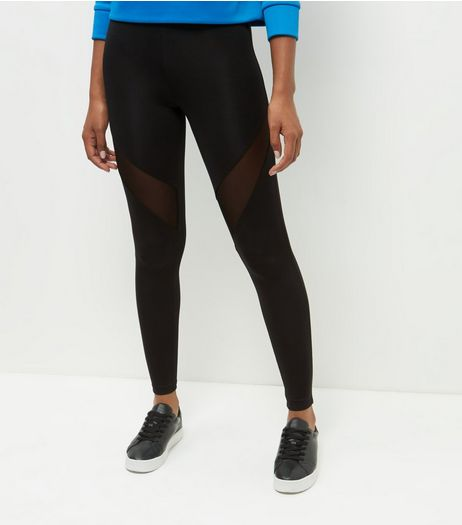 Black Scuba Mesh Panel Sports Leggings  | New Look