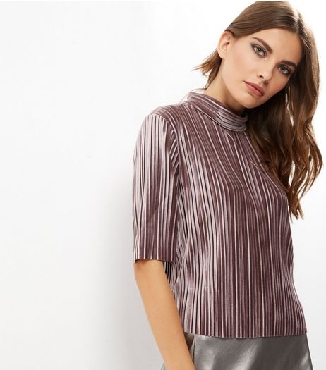 Light Purple Velvet Pleated Funnel Neck Top  | New Look