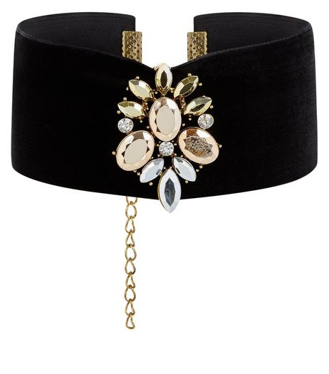 Black Jewelled Wide Velvet Choker | New Look