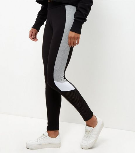 Black Mesh Colour Block Panel Leggings  | New Look