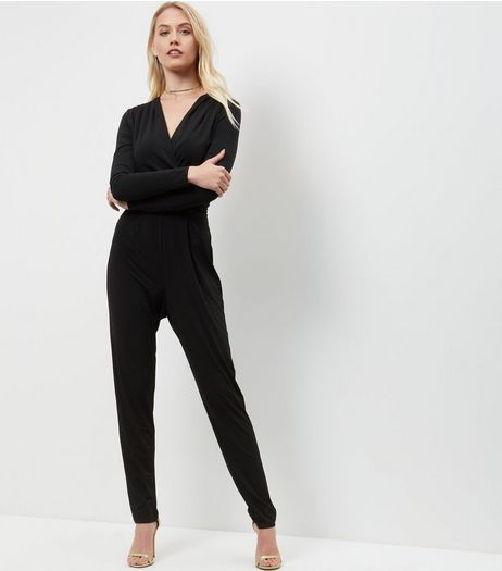 Tall Black Wrap Front Long Sleeve Jumpsuit | New Look