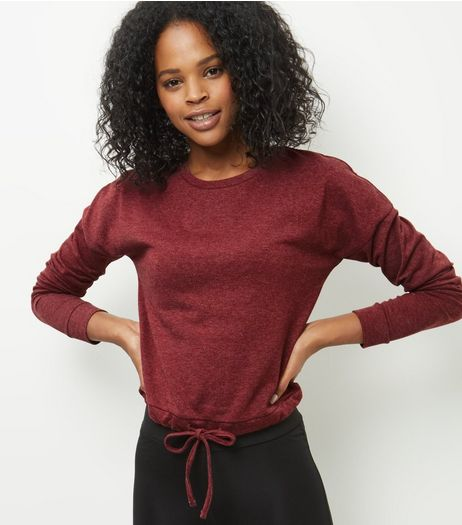 Dark Red Airtex Back Drawstring Long Sleeve Top  | New Look