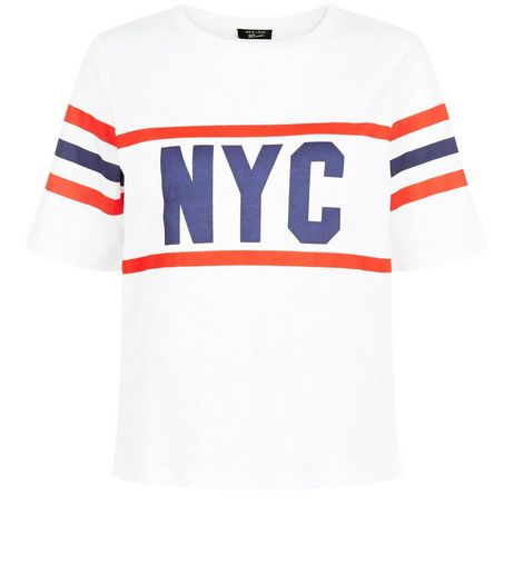 Teens White NYC Stripe T-Shirt | New Look