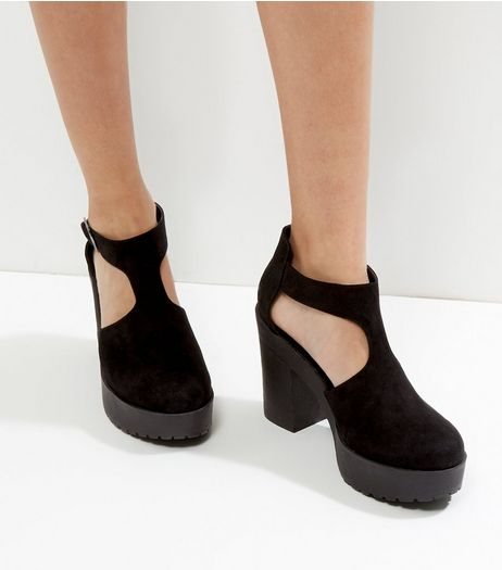 Black Suedette Cut Out Buckle Platform Heels | New Look