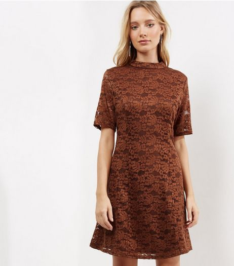 Light Brown Lace Funnel Neck Skater Dress | New Look
