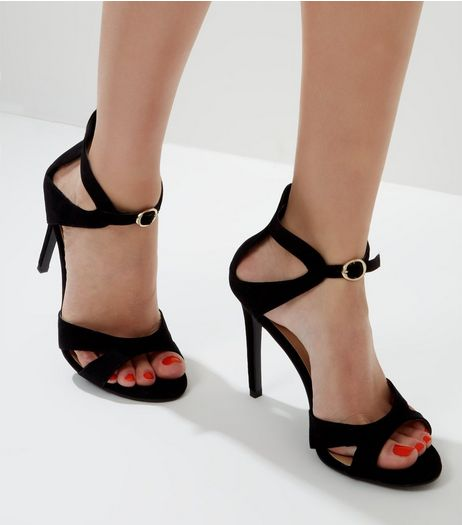 Black Front Buckle Cross Strap Heeled Sandals | New Look