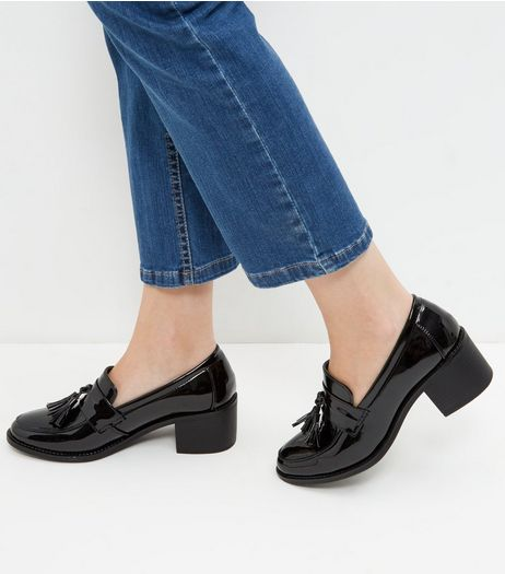 Black Patent Tassel Block Heel Loafers | New Look