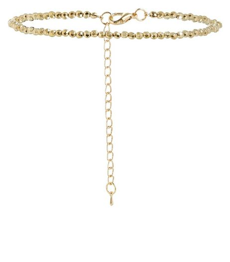 Gold Beaded Skinny Choker  | New Look