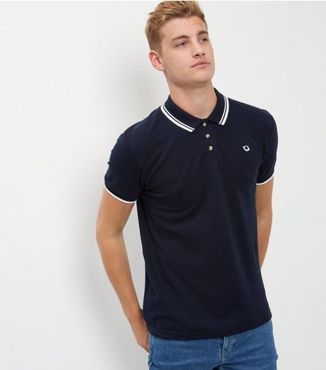 Navy Stripe Print Trim Short Sleeve Polo Shirt  | New Look