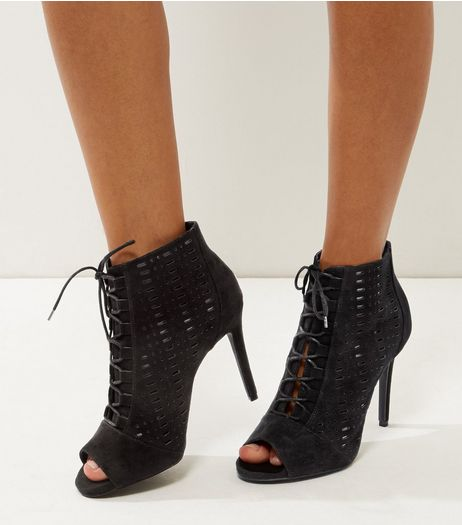 Wide Fit Black Suedette Laser Cut Out High Heels | New Look