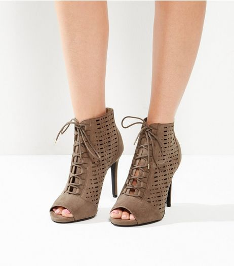 Wide Fit Brown Suedette Laser Cut Out High Heels | New Look