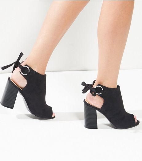 Black Peep Toe Sling Back Heeled Mule | New Look