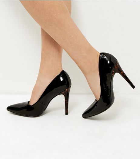 Wide Fit Black Patent Tortoiseshell Print Heels  | New Look