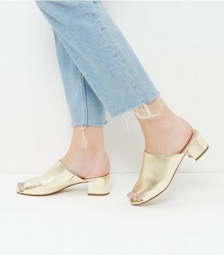 Gold Metallic Peep Toe Mules  | New Look