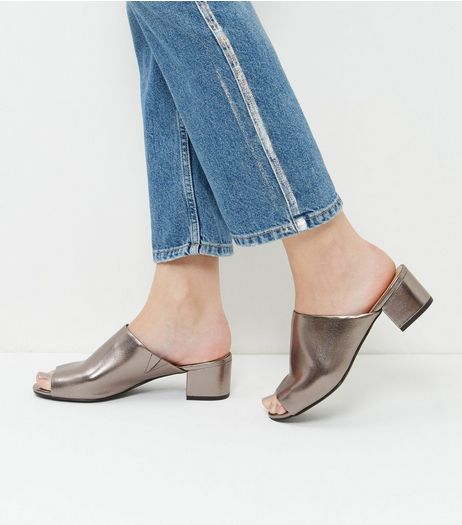Bronze Peep Toe Mules | New Look