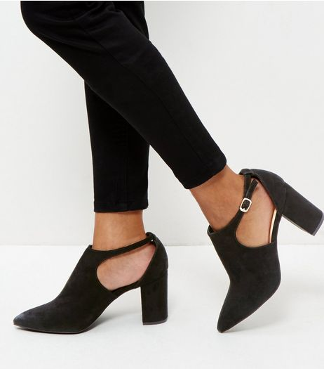 Wide Fit Black Suedette Cut Out Pointed Boots  | New Look