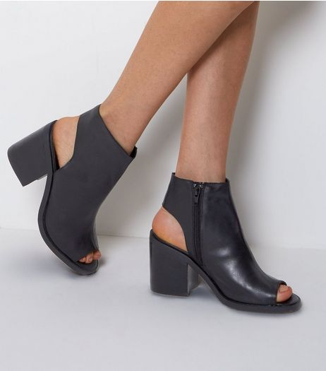 Black Leather Peep Toe Block Heels | New Look