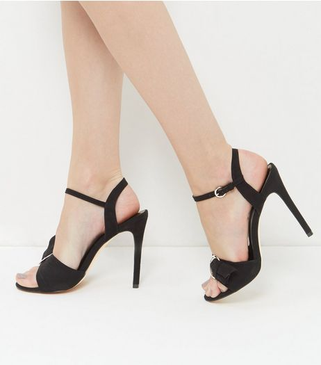 Black Suedette Buckle Pointed Heels | New Look