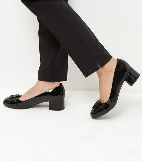 Wide Fit Black Patent Buckle Front Court Shoes | New Look