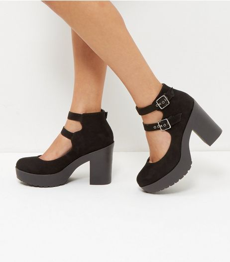 Black Suedette Double Strap Chunky Block Heels  | New Look