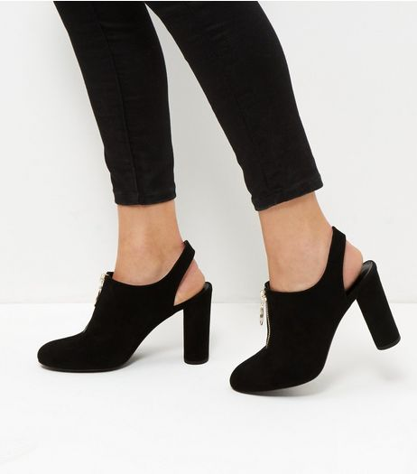 Black Suedette Zip Front Sling Back Cylindrical Heels | New Look