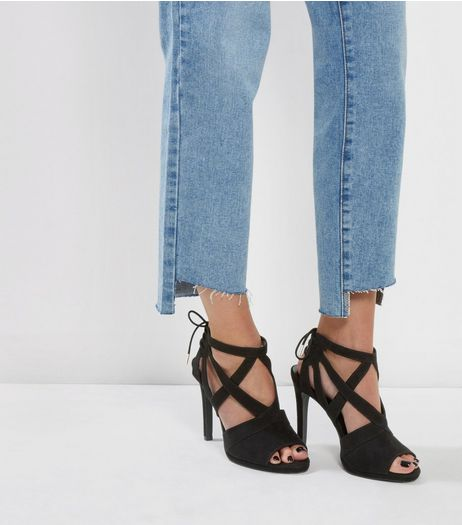 Black Suedette Tie Back Heeled Sandals | New Look