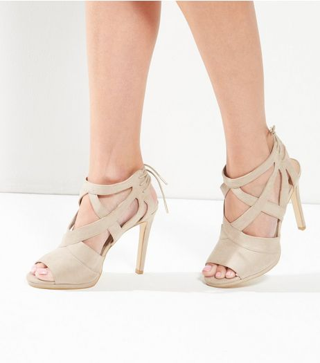 Light Brown Suedette Tie Back Heeled Sandals | New Look