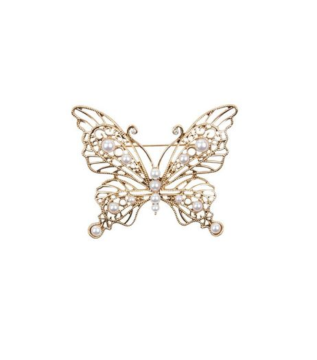 Gold Diamante Butterfly Brooch | New Look