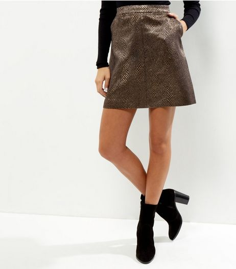 Anita and Green Gold Snakeskin Textured Metallic Skirt  | New Look