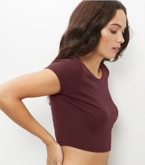 Burgundy Scoop Neck Crop Top  | New Look