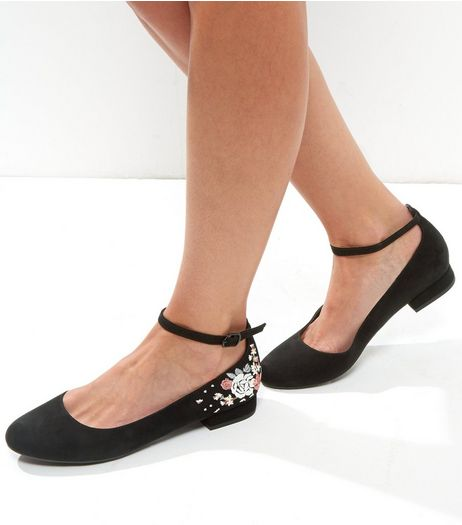 Black Embroidered Heel Ankle Strap Pumps | New Look