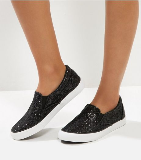 Black Glitter Chunky Slip On Plimsolls | New Look