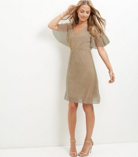 Mela Gold Flutter Sleeve Dress | New Look