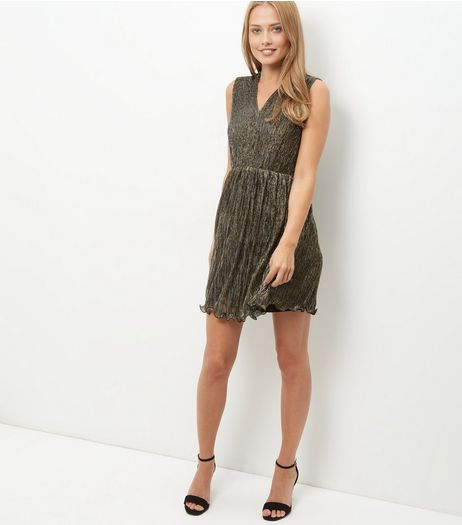 Mela Bronze Shimmer Frill Hem Pleated Dress | New Look