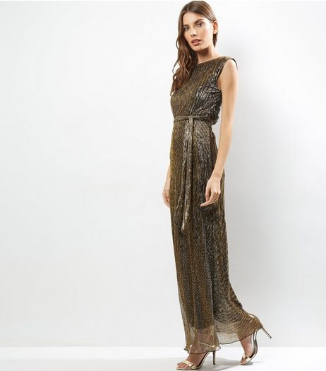 Mela Bronze Sleeveless Tie Waist Maxi Dress | New Look