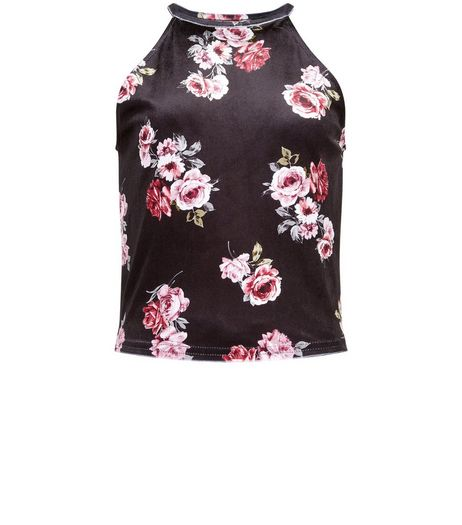 Teens Black Rose Print High Neck Cami | New Look