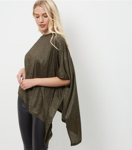 Mela Gold Batwing Asymmetric Drape Jumper | New Look