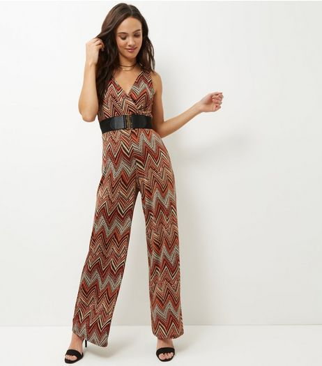 Mela Orange Chevron Belted Jumpsuit  | New Look