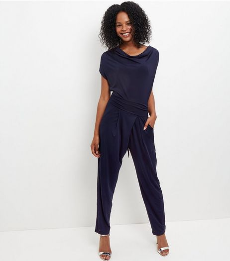 Mela Navy Cowl Neck Jumpsuit | New Look