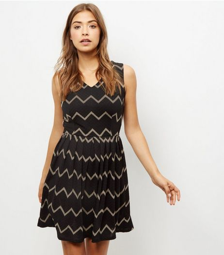 Mela Black Chevron Print Skater Dress | New Look