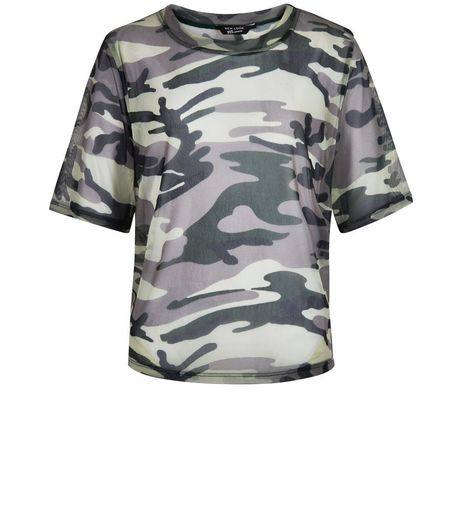 Teens Green Camo Print Mesh T-Shirt | New Look
