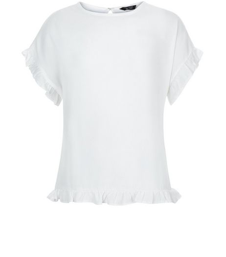 Teens Cream Frill Hem Short Sleeve Top | New Look