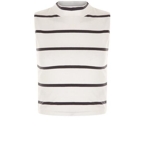 Teens White Stripe Turtle Neck Sleeveless Top | New Look