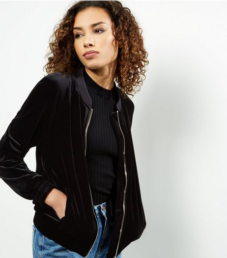 Black Velvet Bomber Jacket | New Look
