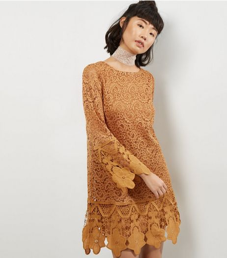 Mela Bronze Lace Long Sleeve Dress | New Look