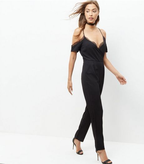 Cameo Rose Black Lace Trim Cold Shoulder Jumpsuit  | New Look