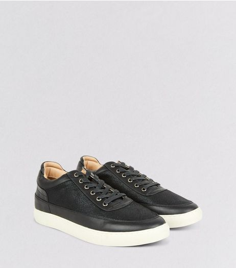 Black Textured Mid Cut Trainers | New Look